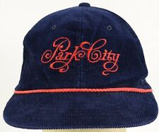 Park City Blue Corduroy Baseball Hat Cap with Snapback Strap Adjust