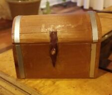 Wooden Trunk  w/ Brass Bands dollhouse miniature furniture  DHS3671 1/12 scale