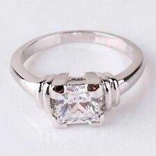 18K WHITE GOLD ON SILVER 1.14 CT PRINCESS CUT SIMULATED MOISSANITE RING_SIZE 9