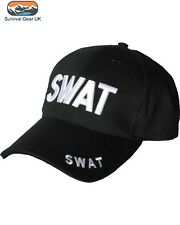 Black SWAT Baseball Cap 3D Embroided on Front and Rear - FREE DELIVERY