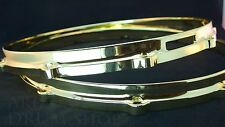 """Ludwig NEW Brass Plated Die Cast Snare Drum Hoops 14"""" PAIR 10 Hole/Lug"""