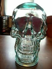 Green Clear Glass Mannequin Head - Skull 11 by 5 by 7 inches