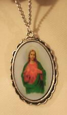 Lovely Large Ripple Rim Blue Robed Sacred Heart of Jesus Picture Medal Necklace