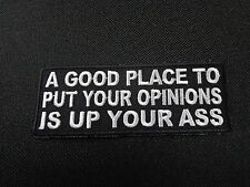 A GOOD PLACE TO PUT YOUR OPINIONS  FUNNY SAYING PATCH BIKER VEST PATCH CLUB