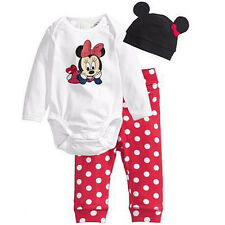 Newborn Baby Girls Boys Mickey Bodysuit Romper Top+Pants+Hat 3Pcs Outfits Sets