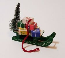 Vintage Christmas Tree Ornament Decoration Bottle Brush Sleigh Sled Present Wood