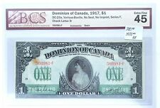 1917 Dominion Of Canada Graded 1 Dollar Banknote Extra Fine 45