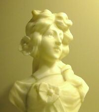 ART NOUVEAU FINELY CARVED BUST OF YOUNG WOMAN ITALIAN MARBLE... 9 3/4 Tall
