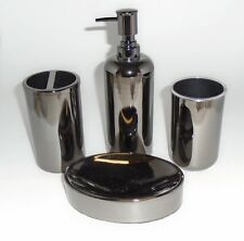 NEW 4 PC GRAY,GUNPOWDER REFLECTIVE ACRYLIC SOAP DISPENSER+DISH+TUMBLER+TOOTHBRSH