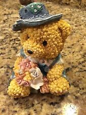 Adorable Resin Bear With Blue Hat Holding Flowers Shelf Figurine