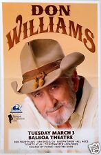 DON WILLIAMS 2015 SAN DIEGO CONCERT TOUR POSTER - Country Music Legend