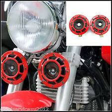 RED SUPER LOUD HIGH QULITY ELECTRIC BLAST TONE HORN for MOTORCYCLE CHOPPER 12V