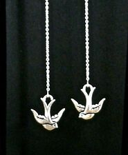 """IAJ"" LOVELY SWALLOW BIRD STERLING SILVER Ear Threads Threader Earrings"
