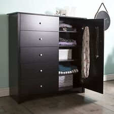 South Shore Vito Door Chest with 5 Drawers Pure Black 3170045 New