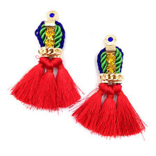 GORGEOUS ANTHROPOLOGIE RED TASSELS DROP DANGLE  EARRINGS- NEW