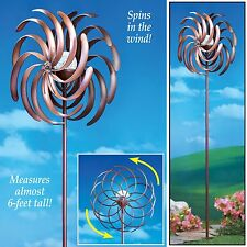 NEW SOLAR LIGHTED OUTDOOR METAL WIND SPINNER W/ GLASS MOSAIC LIGHT YARD STAKE