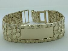 "Men's 10K Solid Gold Nugget Adjustable ID Bracelet 8"" inch, 21mm, 51.9g Jewelry"