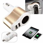 3.1A Dual 2 USB Fast Charger +One Way Car Cigarette Lighter Power Socket Adapter