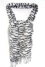 LADIES BLACK/ SILVER SPARKLING ZEBRA PRINT BOLD STATEMENT TASSELLED SCARF (MS40)