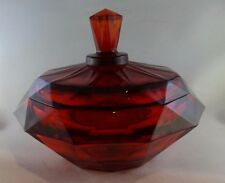 Vintage Viking Glass Persimmon Ruby Red Diamond Point Covered Candy Dish