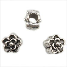 20x 151624 New Flower Alloy Vintage Silver Plated Beads Fit European Bracelet