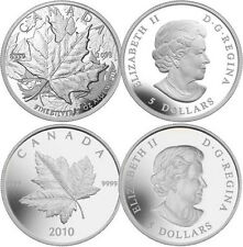 Pair of Piedfort Coins 2010 & 2013 1oz Silver 25th Anniversary of Maple Leaf