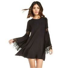 LADIES BLACK SHORT DRESS TOP SZ 14 BOHO CROCHET LACE BELL LONG SLEEVES