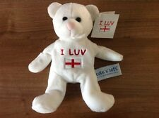 "VINTAGE ""I LUV ENGLAND"" PLUSH TEDDY BEAR-CUTE 'n' SOFT-NEVER USED-TAGS ATTACHED"