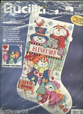BUCILLA CHRISTMAS STOCKING,LET IT SNOW,MPN 83632 Cross Stitch OPEN COMPLETE