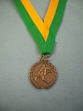 "bronze WRESTLING 1 1/4"" dia medal green gold neck drape"