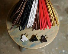 8' Flat 2-Wire Cloth Covered Cord & Plug, Vintage Light Lamp Rewire Kit, Rayon