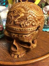 Ornate SKULL ASHTRAY Light Carved stash box LID TOP trinket boxes SKULLS .
