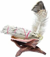 Mini Ritual Smudge Purification Kit - White Sage Abalone Shell Stand & Feather