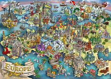 NEW! Ravensburger European Wonders 1000 piece geographical cartoon jigsaw puzzle