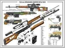 "Poster 12""X18"" Russian Dragunov Sniper Rifle SVD Manual Exploded Parts Diagram"