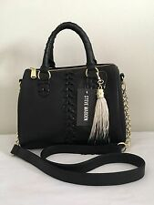 STEVE MADDEN Barrel Braid Stitch Satchel Crossbody Bag Black NWT $98