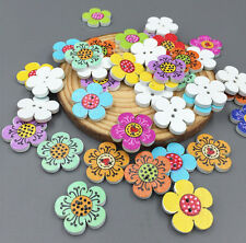 50pcs Mixed Wooden Flowers Sewing Buttons Scrapbooking Decorations 2-Holes 20mm