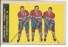 1960-61 Parkhurst Geoffrion, Beliveau, Marshall #59 Canadiens - no crease