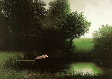 DIVING PIG ART PRINT BY MICHAEL SOWA country scene pig jumping in lake poster