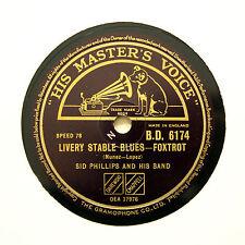 "SID PHILLIPS BAND ""Livery Stable Blues / Canoodlin' Rag"" (E+) HMV [78 RPM]"