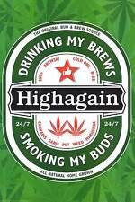 HIGH AGAIN - WEED & BEER POSTER - 24x36 PARODY POT MARIJUANA SMOKING 44818