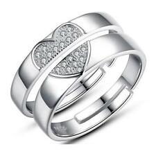 1 Pair Lover Heart Silver Crystal Couple Rings Her and His Promise Ring Band Set