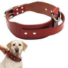 17-21'' Leather Dog Training Collars with Handle for Large Dogs Walking Pitbull