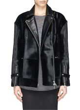 NEW Whistles Yoko Black Calf Hair and Hide Leather Biker Jacket SIZE 8 RRP£1050