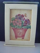 Painted Country Craft Wooden Key Cabinet W/ Flower Pot, Butterfly, Hinged Door