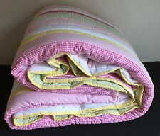 POTTERY BARN KIDS KASEY TWIN QUILT NEW PINK YELLOW STRIPE GINGHAM GIRLS