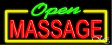 "NEW ""OPEN MASSAGE"" 32x13 BORDER REAL NEON SIGN w/CUSTOM OPTIONS 10574"