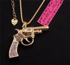 New Betsey Johnson crystal gold gun pendant necklace R046