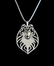 Rough Collie Dog Canine Collection Silver Tone Metal Pendant Necklace