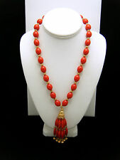 Crown Trifari Vintage Necklace 1960s Red Lucite Bead Tassel Pendant Gold Tone